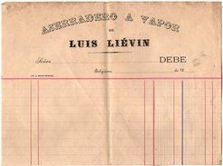 VP6253 - Facture Vierge  - Asserrador A Vapor De Luis LIEVIN à BELGRANO ( Argentine ) - Factures & Documents Commerciaux