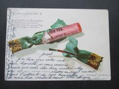 AK 1899 Finanzkarte 8. Knallbonbon Mit Geld Gefüllt. Krone Adler Frankatur. - Humor