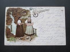 AK 1898 Gruss Aus Dem Schwarzwald / Frauen In Tracht,. TRiberger Wasserfall?! Krone Adler Frankatur - Gruss Aus.../ Grüsse Aus...