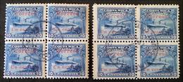 TIMBRES-TELEGRAPHE 1910 - 2 BLOCS DE QUATRE OBLITERES - YT 14 - VARIETES D'OBLITERATION - Costa Rica