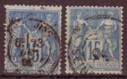 FRANCE - 1877 - Sage Type II - YT N° 90 + 101 ( Papier Quadrillé ) - Oblitérés - 1876-1898 Sage (Type II)