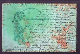 CPA Illustrateur KIRCHNER Art Nouveau Femme Profil Musique Litho Gaufré Relief Fond Vert Et Bronze Recto Verso - Kirchner, Raphael