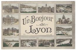 """69 """"UN BONJOUR DE LYON"""" , CPA, Multivues, Colorisée - Lyon"""