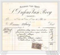 75 11 851 PARIS 1899  Tailleur L. DUFOUR  - VAN ROEY Rue Du Bac Et De Lille  à Mr ALRICQ ( ALRIQ ) - France