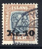 ICELAND 1930 10 Kr. On 5 Kr.  Surcharge Used. Michel 141 - 1918-1944 Autonomous Administration