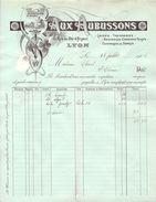 FACTURE AUX AUBUSSON LAINES TAPISSERIE BRODERIES LYON RHONE 1908 - Textile & Vestimentaire