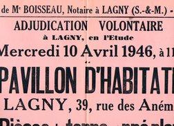 VP6262 - LAGNY - Affiche 41 X 62 - Vente D'un Pavillon & 7 Pièces De Terre à MONTEVRAIN - Posters