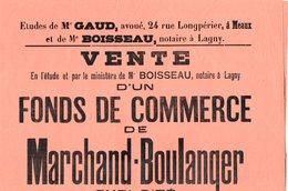 VP6263 - LAGNY - Affiche 28 X 37 - Vente D'un Fonds De Commerce De Marchand - Boulanger à MONTEVRAIN - Posters