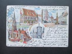 AK 1898 Gruss Aus Freiburg Mehrbildkarte Kaufhaus / Schwabenthor / Münster. Künstlerkarte K. Fuchs - Gruss Aus.../ Grüsse Aus...
