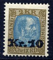 ICELAND 1929 10 Kr. On 2 Kr.  Surcharge LHM / *.  SG 150, Michel 124. - 1918-1944 Autonomous Administration