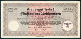 Deutschland, Germany - 5000 Reichsmark, Steuergutschein I, Ro. 721b, 1940 ! - [ 4] 1933-1945 : Third Reich