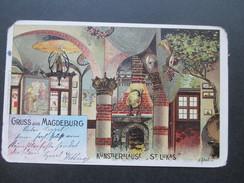 AK / Künstlerkarte 1901 Gruss Aus Magdeburg. Küstlerklause St. Lukas. M. Scheel 1899 - Gruss Aus.../ Grüsse Aus...