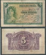 ESPAGNE SPANIEN SPAIN ESPAÑA 1935 5 PTAS REPÚBLICA ESPAÑA - [ 2] 1931-1936 : République