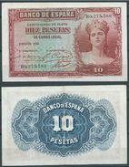 ESPAGNE SPANIEN SPAIN ESPAÑA 1935 10 PTAS REPÚBLICA ESPAÑOLA - [ 2] 1931-1936 : Repubblica