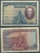 ESPAGNE SPANIEN SPAIN ESPAÑA 25 PTAS 15-08-1923 BENDED CON DOBLEZ - 1-2-5-25 Pesetas