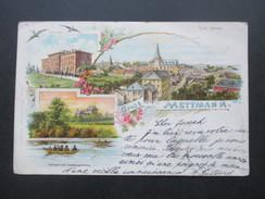AK / Künstlerkarte 1900 Gruss Aus Mettmann Mehrbildkarte Bahnhof Mit Goldbergerteich / Total Ansicht / Seminar - Gruss Aus.../ Grüsse Aus...