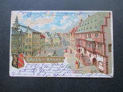 AK / Künstlerkarte 1899 Gruss Aus Hanau Mit Wappen Nach Devonport England. Krone Adler Senkr. Paar - Gruss Aus.../ Grüsse Aus...