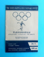 OLYMPIC GAMES HELSINKI 1952. Finland - ATHLETICS Old Rare Official Programme * Olympia Olympiade Programm Programma - Olympische Spiele