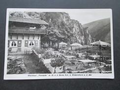AK Echtfoto Weinhaus Felsidylle M. Blick Auf Die Bunte Kuh Bei Walporzheim A.d. Ahr. Frankreich Nachportomarken!! - Hotels & Gaststätten
