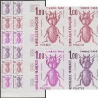 France 1982 Y&T Timbre-taxe 106. Bloc De 12, Essais De Couleurs. Coléoptère, Scarites Laevigatus - Insectes