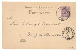 Ganzsache Deutsche Reichspost Lauban (Schlesien) 1888 Nach Brieg - Ganzsachen