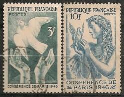 Timbres - France - 1946 -  Conférence De Paris 1946 - N° 761 Et 762 -