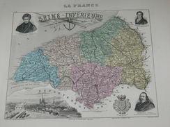 """ATLAS DEPARTEMENTAL / 1881 / 2 GRAVURES """"SEINE INFERIEURE """"  ROUEN DIEPPE LE HAVRE YVETOT   / CARTE Et STATISTIQUE - Cartes Géographiques"""