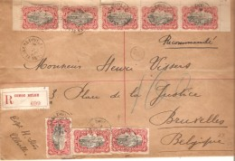 TP 55(8) S/L.recommandée C.Elisabethville 27/8/1912 V.Bruxelles C.d'arrivée PR3601