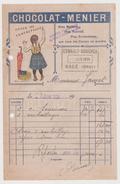 Petite Facture Publicité  Chocolat Menier 1924 - Pubblicitari