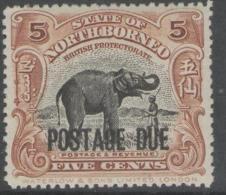 NORTH BORNEO SGD57 1922 5c BLACK & YELLOW-BROWN OPT AT FOOT MTD MINT - Noord Borneo (...-1963)