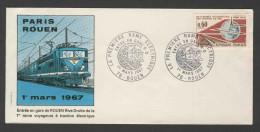 """France Rep. Française 1966 Letter / Brief + Mi 1550 - Postmark: """"LA PREMIERE RAME ELECTRIQUE – 76-ROUEN ...... - Treinen"""