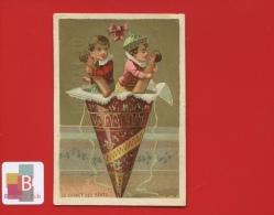 Paris Fabrique De Reims Jolie Chromo Dorée Le Cornet Des Bébés Enfants Poupée Poupon H.D - Trade Cards