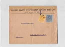 15485 LONDON COUNTRY WESTMINSTER & PARR'S BANK BILBAO TO COPENHAGUE - Cartas
