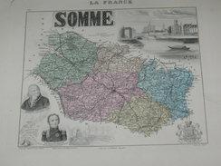 """ATLAS DEPARTEMENTAL / 1881 / 2 GRAVURES """"SOMME  """"  AMIENS ABBEVILLE DOULLENS PERONNE / CARTE Et STATISTIQUES - Landkarten"""