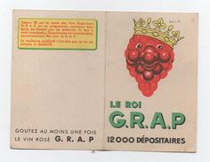 """Petit Calendrier Publicitaire 1954 """" Le Roi Grap """" Marque De Vin Format 6,5 X 9,5 Cm  Rare - Calendriers"""
