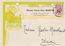 Flemalle-Haute ,carte Publicité ,Veuve Alex Martin ,radiophonie,électricité,PHILIPS - Flémalle