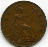 Grande-Bretagne Great Britain 1 Penny 1936 KM 838 - D. 1 Penny