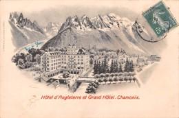 "05022 ""CHAMONIX - HOTEL D'ANGLETERRE ET GRAND HOTEL"" PANORAMA. CART SPED - Chamonix-Mont-Blanc"