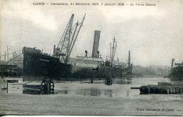 """N°63 L -cpa Caen -inondations 1925 """"le Daphné 1"""" - Commerce"""