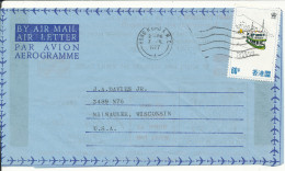 Hong Kong Aerogramme Sent To USA 7-7-1977 - Hong Kong (...-1997)