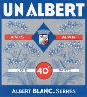 610Mée   Etiquette Pastis Anis Alpin Albert Blanc à Serres (05) - Etiquettes