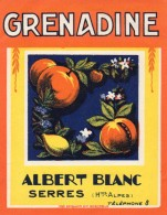 610Mée   Etiquette Grenadine Sirop  Albert Blanc à Serres (05) - Labels