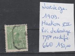 TIMBRE DE NORVEGE   OBLITEREES  NR  66 HAAKON VII ROI DE NORVEGE TYPE MODIFIE 1909  COTE 150 € - Norvège