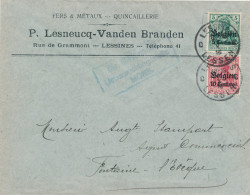 Lettre TP Germania LESSINES 1916 - Censure MONS - Entete Lesneux Vandenbranden , Fers Et Métaux -- XX823 - Guerre 14-18