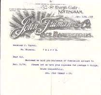 COURRIER JOHN TRUMAN & CO LACE MANUFACTURERS NOTTINGHAM 1905 - Royaume-Uni
