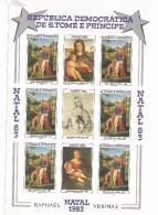 1983 Sao Tome Christmas Paintings Art Raphael Dali  2 IMPERF N.D. Miniature Sheets Of 6 + Labels  MNH - Sao Tomé E Principe
