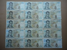 Belgium 20 Francs 1964 (Lot Of 15 Banknotes) - Unclassified
