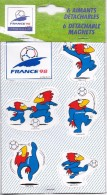 Rare Plaquette Neuve  6 Magnets Détachables Coupe Du Monde 98 Footix Mascotte De L'équipe De France / Licence Officielle - Non Classés