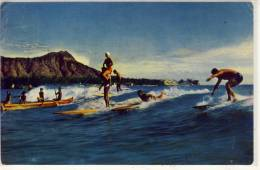 HONOLULU, Hawaii - Surfing Ab Beach Of Waikiki,  Used 1952 - Honolulu