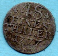 R18/  GERMANY State PRUSSE  1/48 Thaler 1777 Silver  KM# 327 - Taler En Doppeltaler
